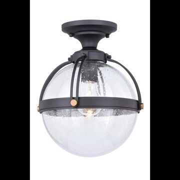 """Vaxcel Lighting T0453 Lorient Single Light 10"""" Wide Outdoor Flush Mount Globe Ceiling Fixture with Glass Shades New Bronze Outdoor Lighting Ceiling"""
