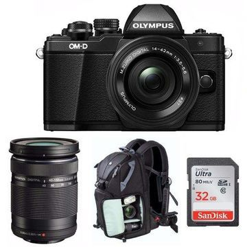 Olympus Mark II Mirrorless Camera with 14-42mm and 40-150 Lenses Bundle