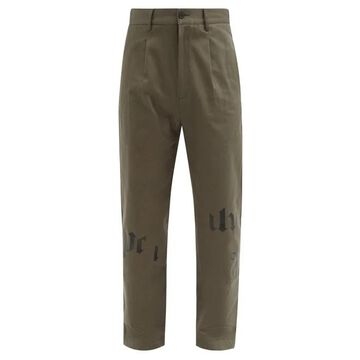 Palm Angels - Logo-print Cotton-twill Chino Trousers - Mens - Green