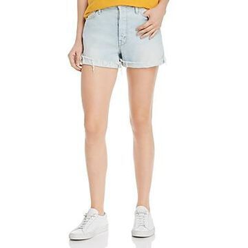 Mother The Proper Distressed Denim Shorts in Hella Hot