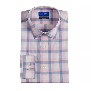 Men's Apt. 9 Premier Flex Slim-Fit Spread-Collar Dress Shirt, Size: Small 32-33, Med Pink