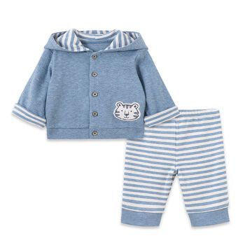 Little Me& 3-Piece Take Me Home Tiger Jacket, Bodysuit, and Pants Set in Blue