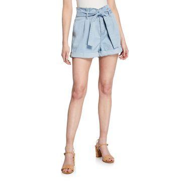 Paperbag Tie-Waist Cuffed Denim Shorts