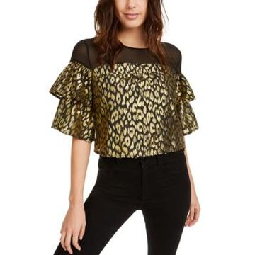 Kendall + Kylie Gold-Foil Animal-Print Top