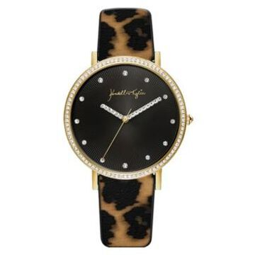 Women's Kendall + Kylie Gold Tone with Watercolor Leopard Print Stainless Steel Strap Analog Watch 40mm