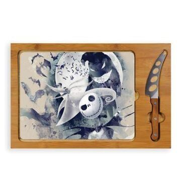 Picnic Time Nightmare Before Christmas Jack And Zero Icon Serving Tray And Knife Set Brown