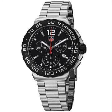 Tag Heuer Men's CAZ1110.BA0877 'Formula 1' Chronograph Stainless Steel Watch (Stainless Steel - Black - Three Hand - 9 Inch - Silver - 43mm - Analog