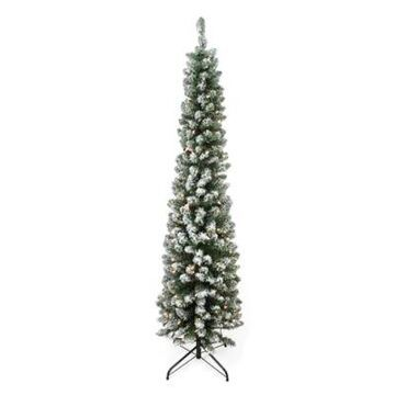 Northlight 6' Flocked Traditional Pre-Lit Pencil Tree In Green