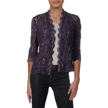 Alex Evenings Womens Petites Bolero Lace Sequined