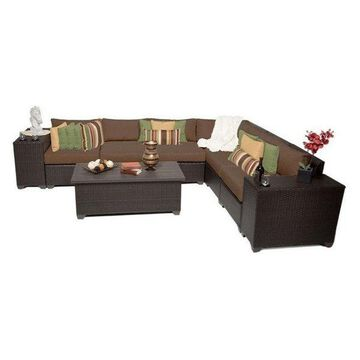 TK Classic Barbados 9-Piece Outdoor Wicker Sofa Set, Cocoa