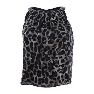 SL Fashions Women's Metallic-Stripe Animal-Print Top - Black Multi