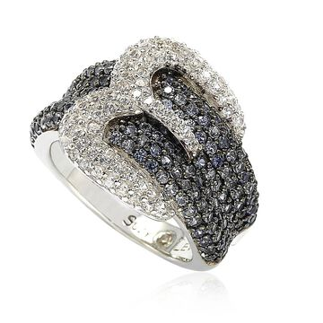 Suzy Levian Sterling Silver Blue & White Sapphire & Diamond Accent Buckle Ring