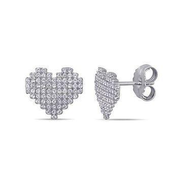 Miabella 1-1/5 Carat T.G.W. Cubic Zirconia Sterling Silver Heart Stud Earrings