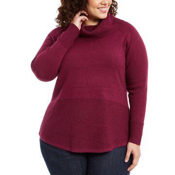 Plus Size Cowl-Neck Mixed-Stitch Sweater
