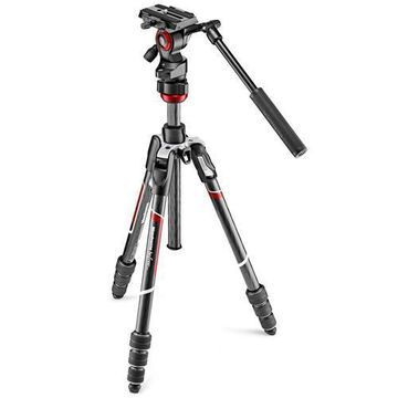 ''Manfrotto Befree Live Carbon Fiber Video Tripod Kit with Fluid Head, M-Lock Twist Leg Locks, Black''