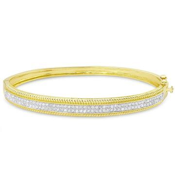Finesque Gold over Sterling Silver 1/4ct Tw Diamond Bangle