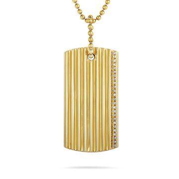 Roberto Coin Yellow Gold Diamond Rectangle Pendant Necklace