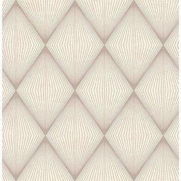 Brewster Geometric Brown Semolina Wallpaper