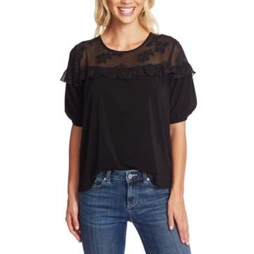 CeCe Floral Ruffled Top