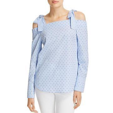 Derek Lam 10 Crosby Womens Check Print Long Sleeves Pullover Top