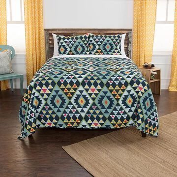 Rizzy Home Maddux Place Miles Geometric Quilt Set, Blue, Full/Queen
