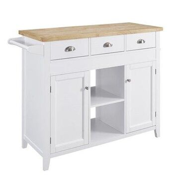 """Linon Sheridan 45"""" Wide Wood Kitchen Cart Island with 30"""" Extending Table, White Finish with Woodgrain top"""