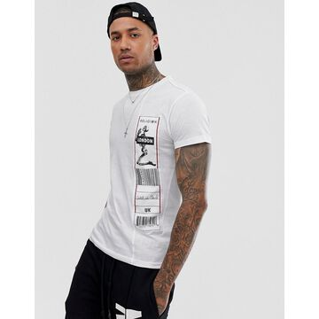 Religion t-shirt with side patch in white