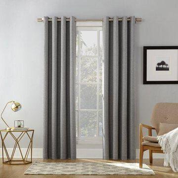 Sun Zero Baxter Burlap Weave Theater Grade Extreme 100% Blackout Grommet Curtain Panel