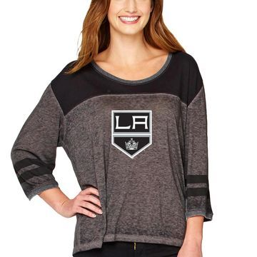 Los Angeles Kings Soft As A Grape Women's Vintage Jersey 3/4-Sleeve T-Shirt - Black/Charcoal