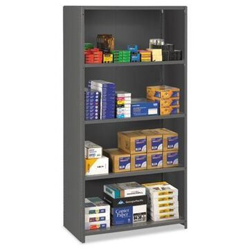 Tennsco Closed Commercial Steel Shelving, Five-Shelf, 36w x 24d x 75h, Medium Gray