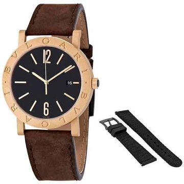 Bvlgari Solotempo Black Dial Automatic Men's Bronze Watch 102977