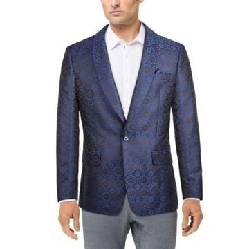 Tallia Men's Navy Jacquard Slim Fit Dinner Jacket