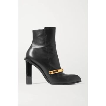Alexander McQueen - Embellished Leather Ankle Boots - Black