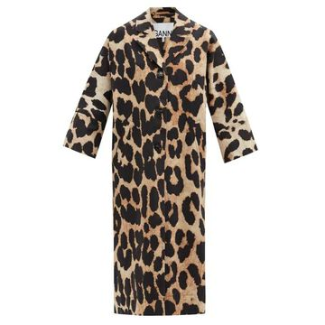 Ganni - Single-breasted Oversized Linen-blend Coat - Womens - Leopard