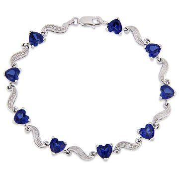 Miadora Sterling Silver Heart-Cut Created Blue Sapphire and Diamond Tennis Bracelet