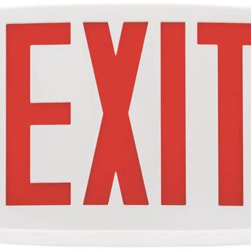 Lithonia Lighting Quantum White LED Exit Sign with Red Letters | LQMSW3R120/277M6