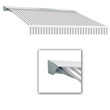Awntech Destin 144-in Wide x 120-in Projection Gray/White Striped Striped Vertical Patio Left Motor Retractable Awning