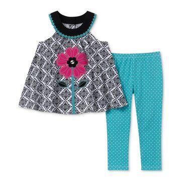 Toddler Girls 2-Pc.Floral Appliqué Tunic & Dot-Print Leggings Set