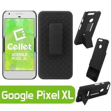 Cellet Shell Holster Kickstand Case with Spring Belt Clip for Google Pixel XL