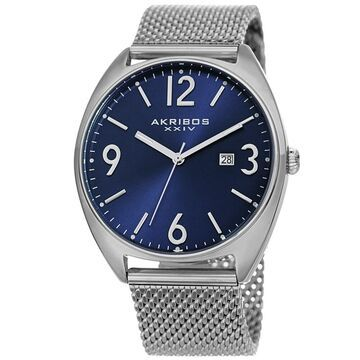 Akribos XXIV Men's Date Silver-Tone Stainless Steel Mesh Strap Watch