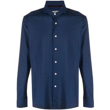 tile-print long sleeved shirt