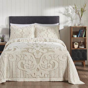 Better Trends Ashton Full/Double Bedspread Set With 2 Standard Shams, 100% Cotton, Natural/Beige