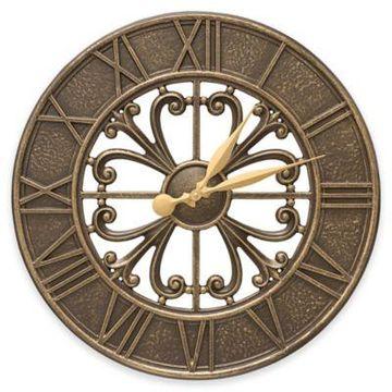 Whitehall Products Villanova 21-Inch Indoor/Outdoor Clock in French Bronze