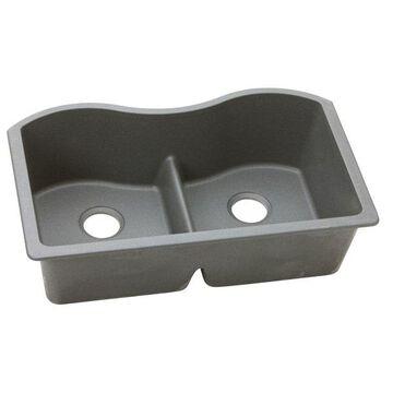 Elkay Quartz Classic 2-Bowl Undermount Sink With Aqua Divide, Greystone