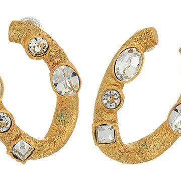 Kenneth Jay Lane 1 U Shape with Pierced Earrings (Antique Gold/Crystal) Earring