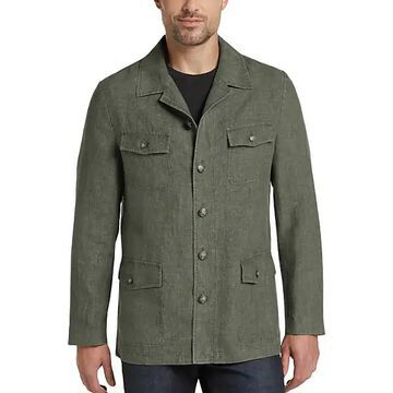 Joseph Abboud Men's Olive Green Modern Fit Linen Casual Coat - Size: Medium