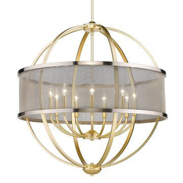 Golden Lighting Colson 9-Light Olympic Gold Farmhouse Chandelier   3167-9 OG-PW
