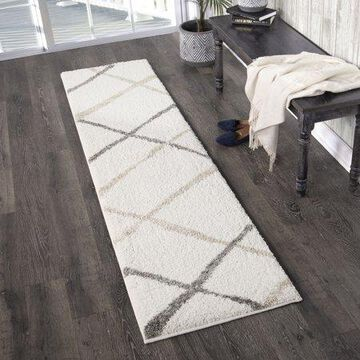 Orian Rugs Super Shag Diamond Thatch Ivory Area Rug