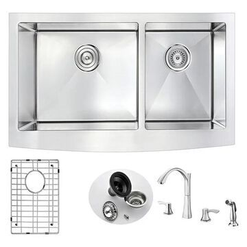 ANZZI Elysian Farmhouse 36 In. Kitchen Sink w/ Soave Faucet In Brushed
