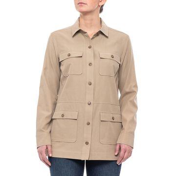 Pendleton Khaki Four-Pocket Silk Blend Woven Shirt (For Women)